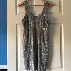 Parker Silver Beaded, Sequined Silk Tank Dress